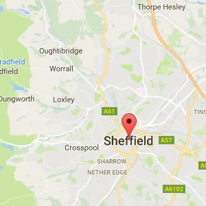 map showing Sheffield areas covered